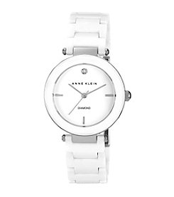 Anne Klein® Women's White Round Ceramic Diamond Watch