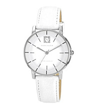 Anne Klein® White Lion Logo Round Strap Watch