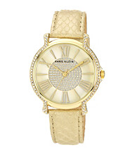 Anne Klein® Camel Crystal Bezel Strap Watch