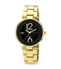 Anne Klein® Black Round Case W/Gold Bracelet