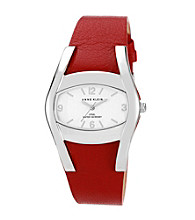 Anne Klein® Silver Oval Case with Red Leather Strap Watch