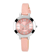 Nine West® Pink Silvertone Case W/Blush Strap