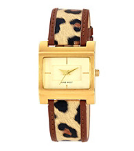 Nine West® Brown Rectangle Case W/Leopard Bracelet