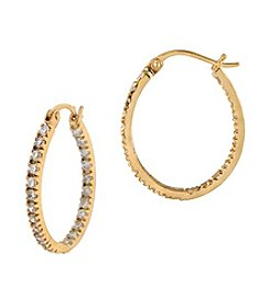 Designs by FMC Brass Vermeil Cubic Zirconia Hoop Earrings