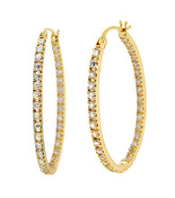 Designs by FMC Gold Plated Vermeil Cubic Zirconia Hoop Earrings