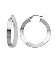 Designs by FMC Sterling Silver Reverse Knife Edge Polished Hoop Earrings