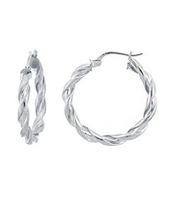 Designs by FMC Sterling Silver Twist Hoop Earrings