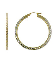 Designs by FMC Diamond Cut Two-Tone Hoop Earrings