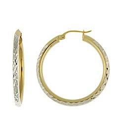 Designs by FMC Diamond Cut Two-Tone Hoop Earrings