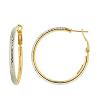 Designs by FMC Diamond Cut Two-Tone Clutchless Hoop Earrings
