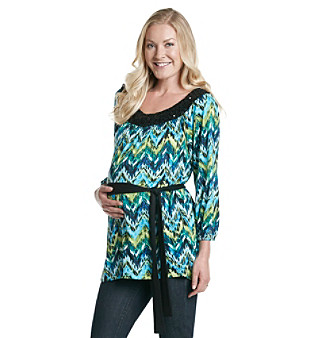 Three Seasons Maternity™ Embellished Belted Print Top