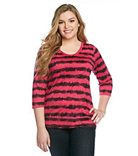 Relativity® Plus Size Scoopneck Banded Bottom Top