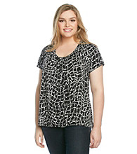 Relativity® Career Plus Size Pleatneck Top