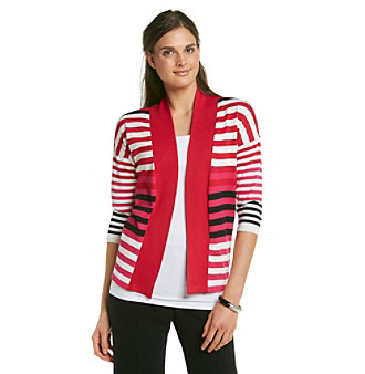 Relativity® Career Stripe Open Cardigan