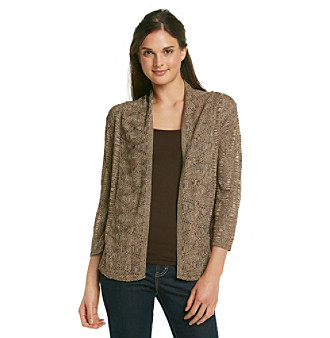 NY Collection Shawl Collar Open Front Cardigan