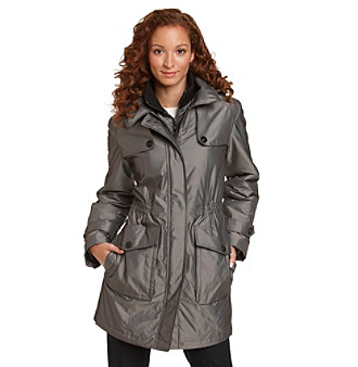 Gallery® Petites' Hooded Anorak Coat with Button Detail