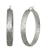 Athra Sterling Silver Diamond Cut Hoop Earrings
