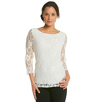 Fever™ Lace Knit Top