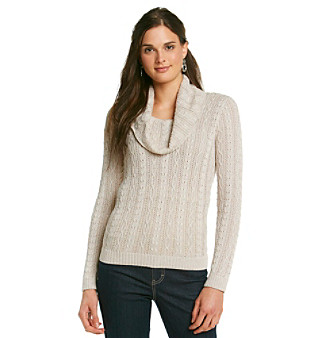 Eight Eight Eight® Metallic Open-Stitch Hi-Low Sweater