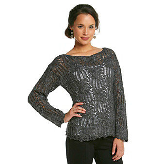 Eight Eight Eight® Shimmer Open Stitch Boatneck Sweater