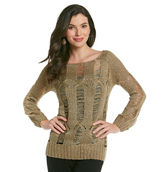 Chaudry® Sequin Open Stitch Pullover Sweater