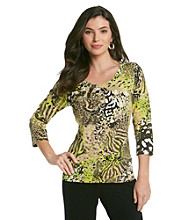 Laura Ashley® Green Animal Print Tee