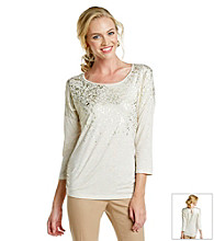 Laura Ashley® Khaki Heather Foil Top