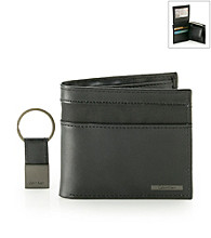Calvin Klein Men's Black L-Fold Passcase with Key Fob