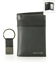 Calvin Klein Men's Black Credit Card Fold Wallet with Key Fob