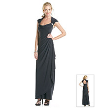 Xscape Drape-Front Open Back Gown