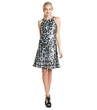 MSK® Tiered Foil Print Halter Dress