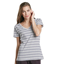 Jockey® Classic V-Neck Knit Top - Eggplant Stripe