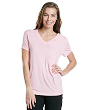 HUE® Prism Pink Classic Short Sleeve V-Neck Top