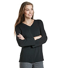 HUE® Classic Long Sleeve V-Neck Top