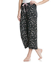 HUE® Black Stroke of Love Knit Capri Pants