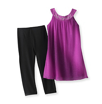 Amy Byer Girls' 4-6X Fuchsia/Black Sparkle Leggings Set