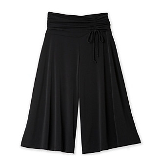 Amy Byer Girls' 7-16 Plus Black Gaucho Pants