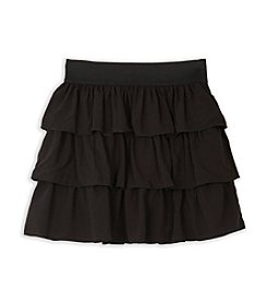 Amy Byer Girls' 7-16 Plus Black Triple Tiered Skirt
