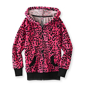 Beautees Girls' 7-16 Animal Printed Fur Hoodie