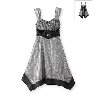 My Michelle® Girls' 7-16 Silver Sequin Bodice Dress