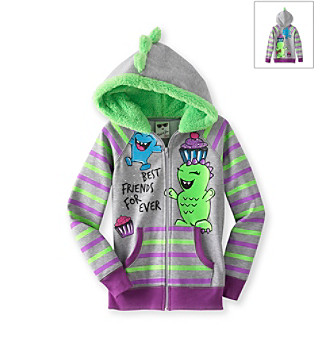 Belle du Jour Girls' 7-16 Grey/Purple Striped Best Friends Hoodie
