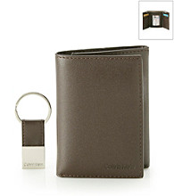 Calvin Klein Men's Brown Trifold Wallet with Key Fob