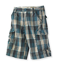 Ruff Hewn Boys' 8-20 Tuscan Teal Check Cargo Shorts