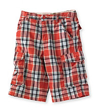 Ruff Hewn Boys' 8-20 Coral Bloom Plaid Cargo Shorts