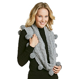 Dearfoams Handknit Cable Design Infinity Scarf with Pom Poms