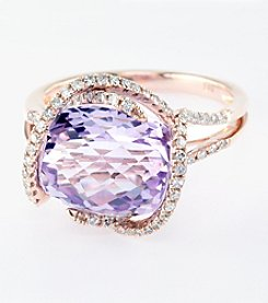 Effy® Pink Amethyst And .40 Ct. T.W. Diamond Ring