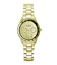 Skagen Denmark Gold Women's Gold Link Multifunction with Faceted Bezel Watch