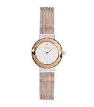 Skagen Denmark Rose and Silver Women's Faceted with Rose and Silver Mesh Watch