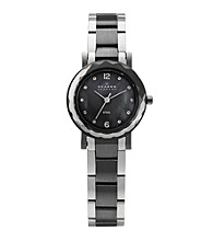 Skagen Denmark Silver and Charcoal Women's Silver and Charcoal Link Watch with Faceted Bezel