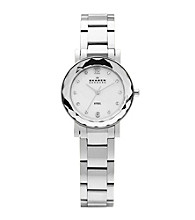 Skagen Denmark Silver Women's Silver Link Watch with Faceted Bezel